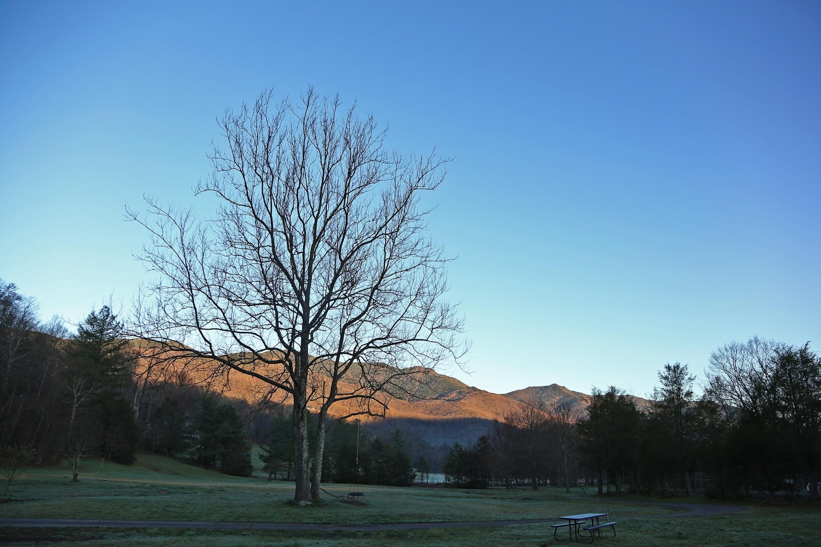 Capturing the first light of the day wash over the Toe River Valley.