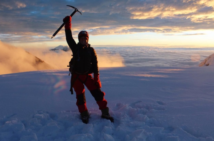 Avery, a student from the United States, at the summit of Cotopaxi (19, 347 ft)