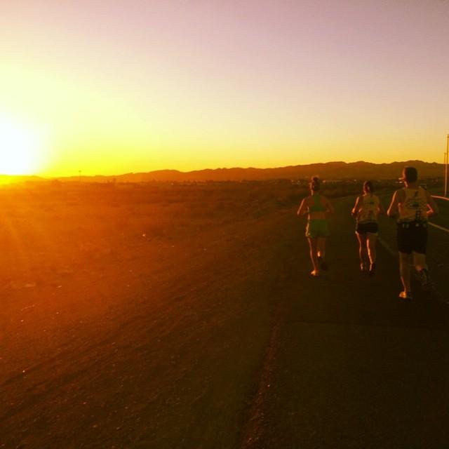 Running through the Mojave Desert