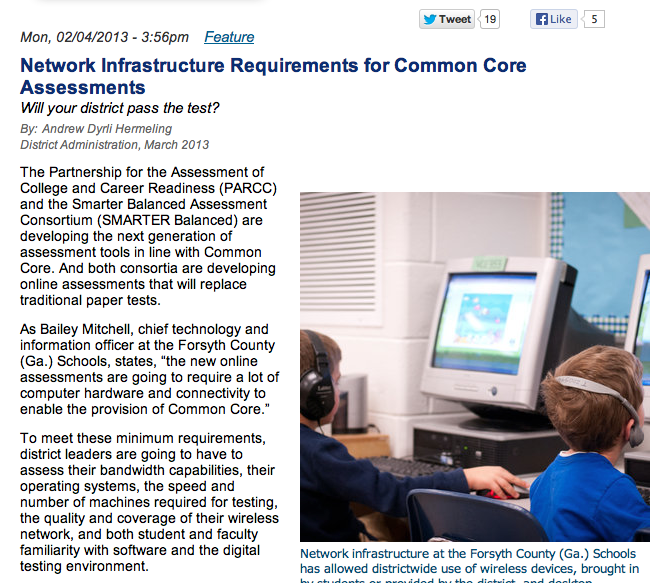 Network Infrastructure Requirements for Common Core Assessments