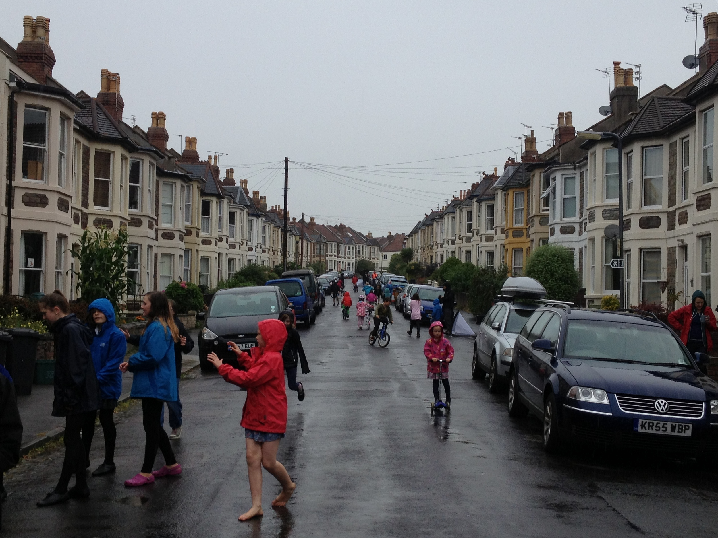 Our first Playing Out session in torrential rain. Great fun and great neighbours.