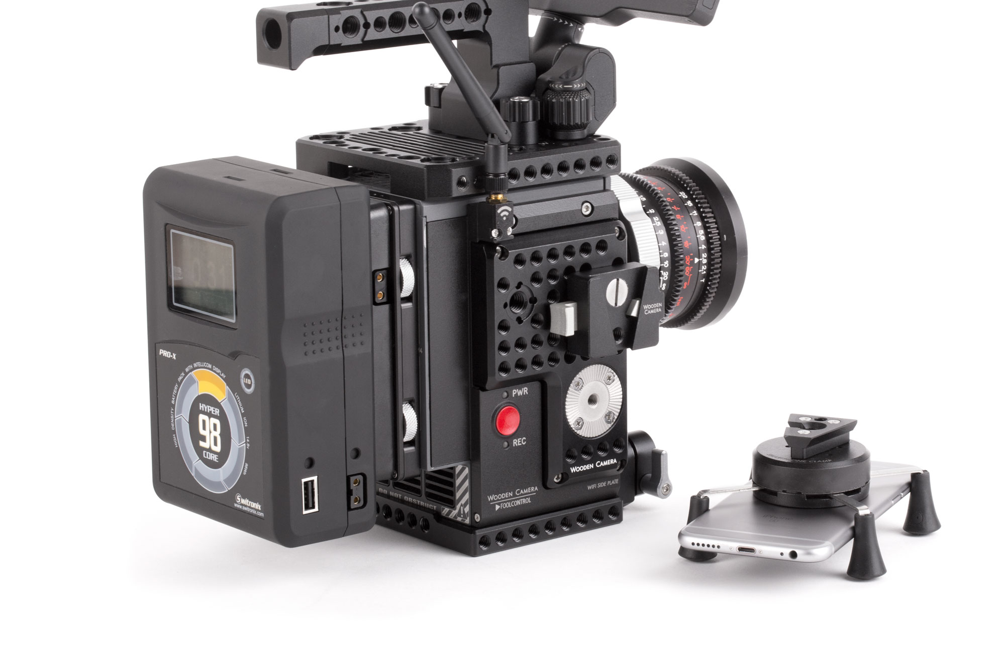 Wooden Camera V-Lock Base and Wedge Kit on RED