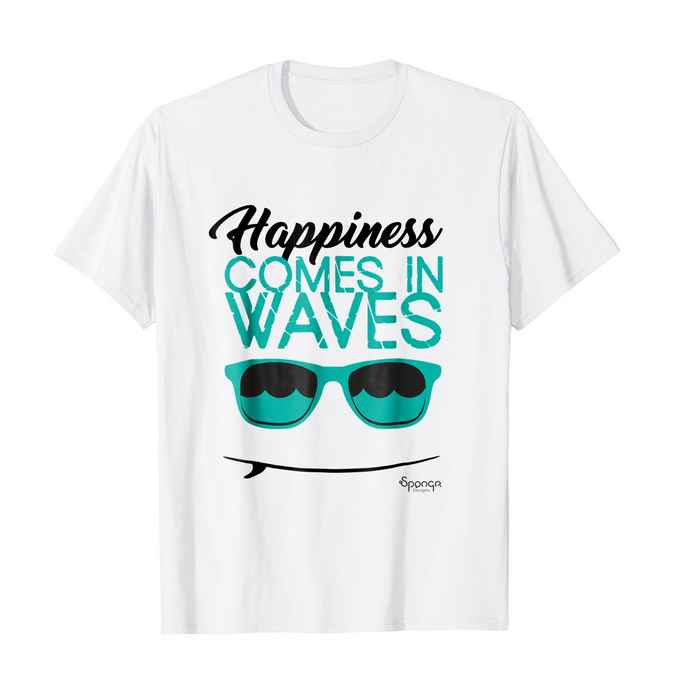 'Happiness Comes in Waves' T-shirt   Anyone love surfing as much as I do?   Prints available on  Amazon >