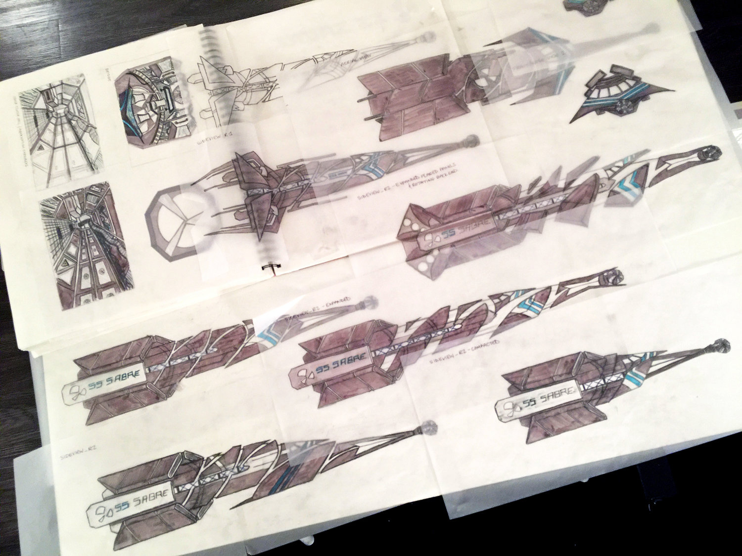 Shadows - Feature Film - Concept Drawings for Spaceship Set Design
