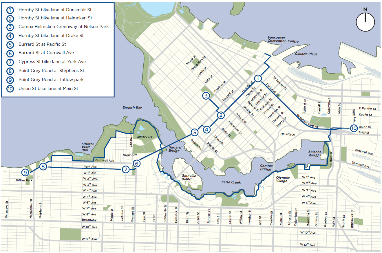 Map of the bike roadways of vancouver tour