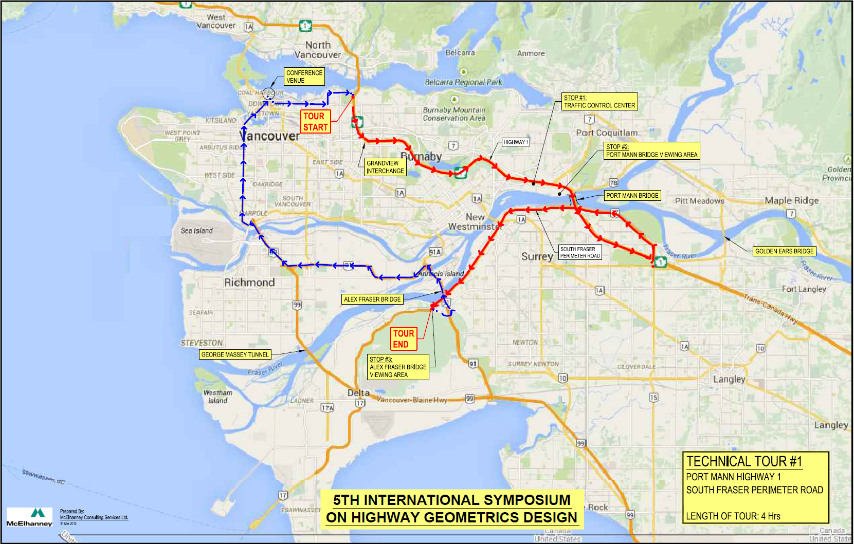 Map of the gateway project tour.