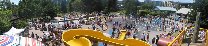 The biggest free water park in North America is at granville island