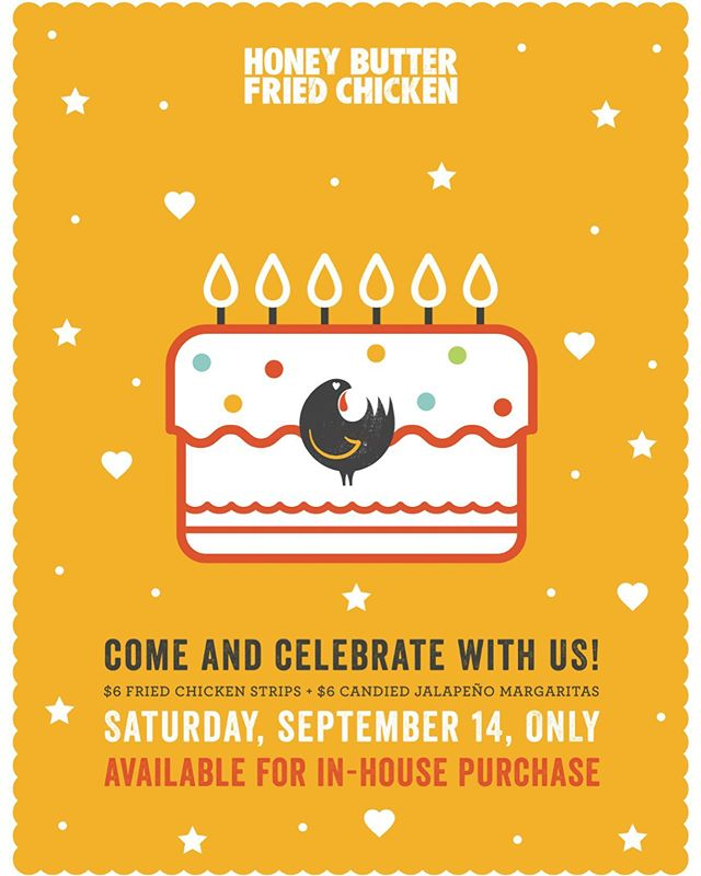 🎉 IT'S HBFC 6th BIRTHDAY TOMORROW 🎉Join us for the celebration! $6 fried chicken strips + $6 candied jalapeño margaritas! (Birthday special available in-house only.)