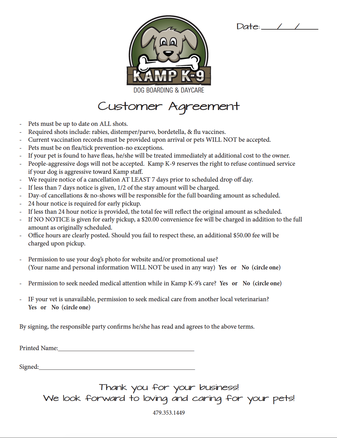 Customer Agreement Form