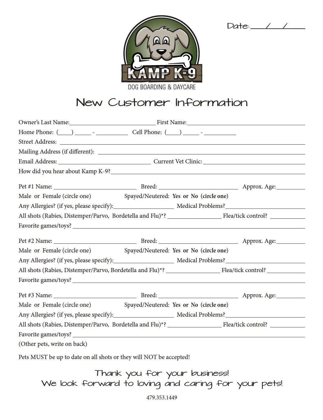 New Customer Information