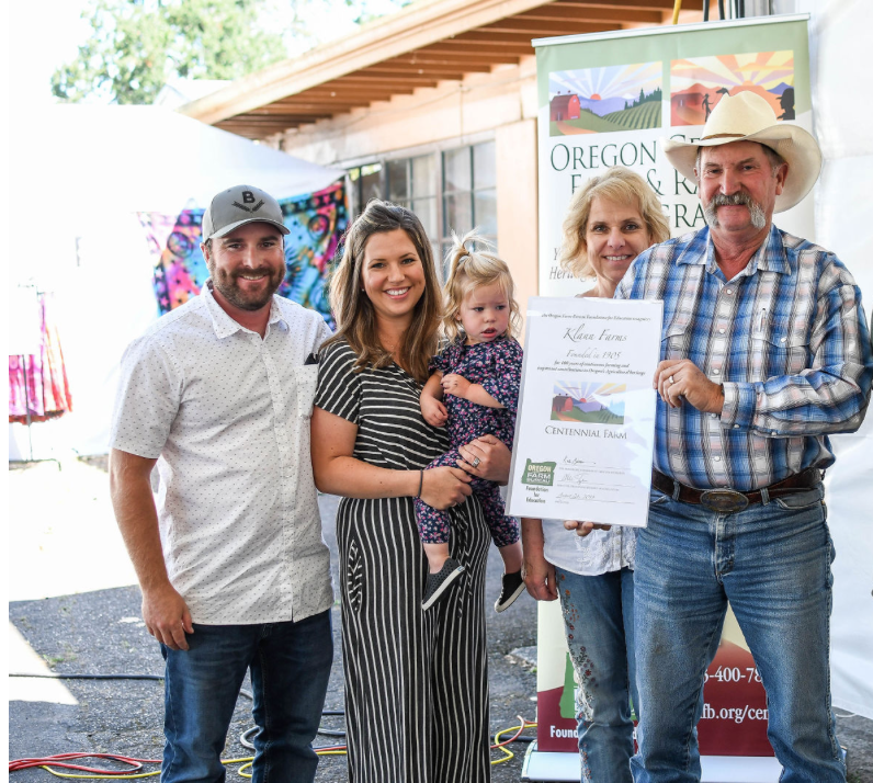Klann Family at Oregon Century Farm Ceremony
