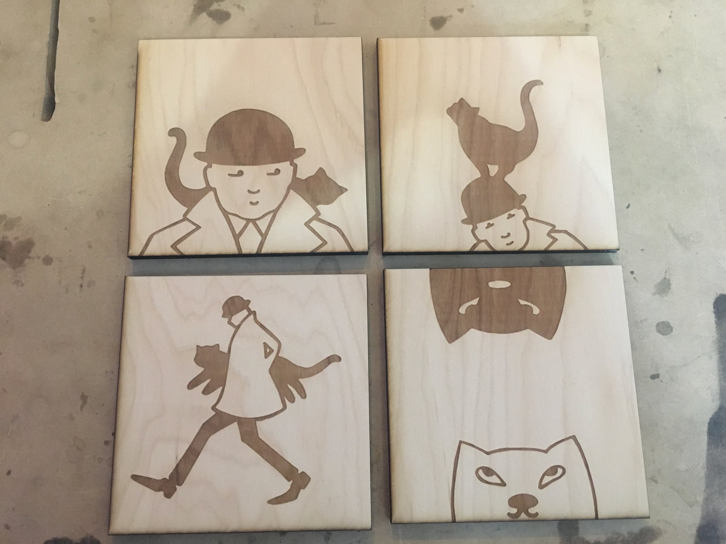 """Etched 1/4"""" Plywood Coasters"""
