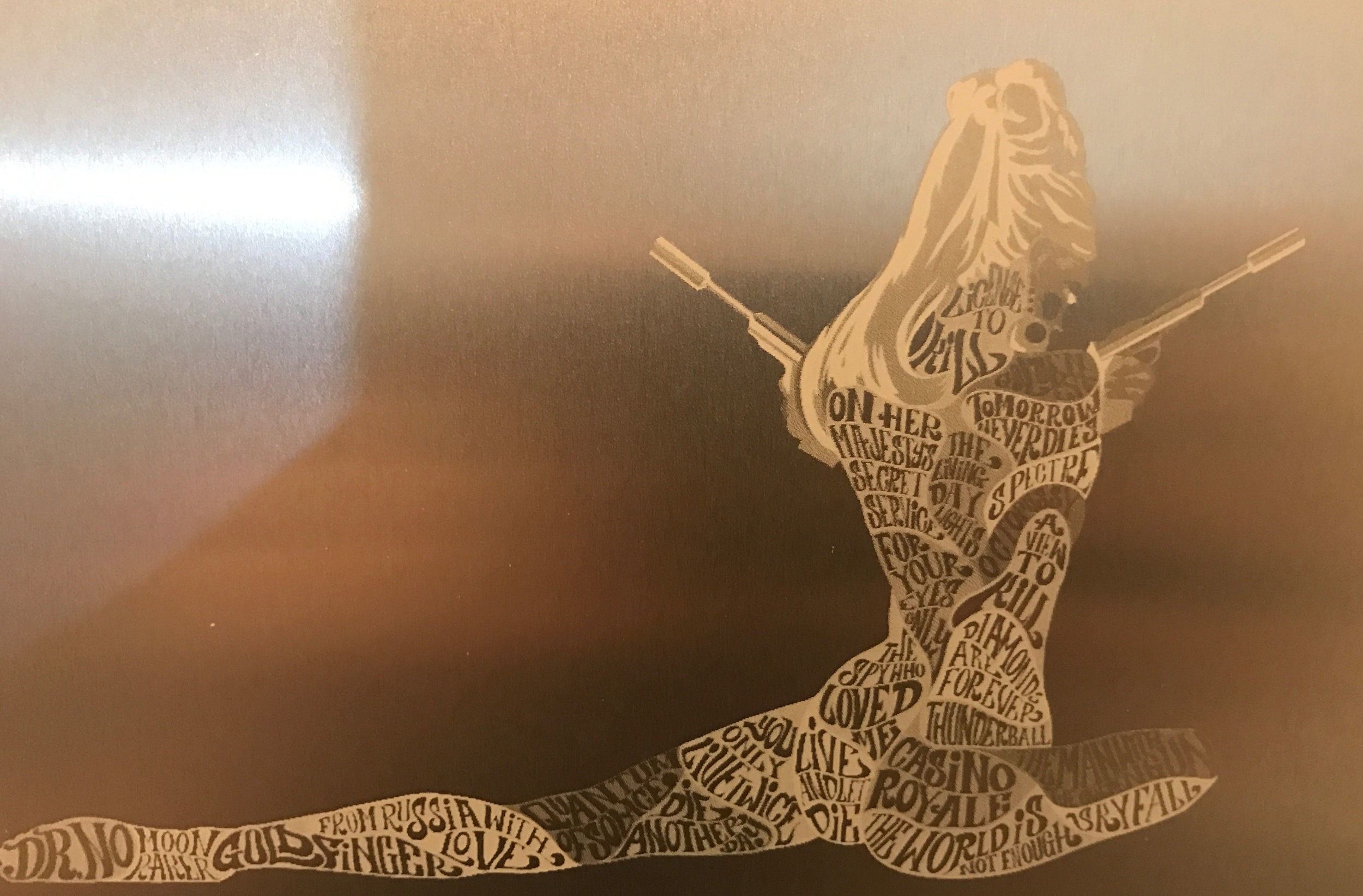 Raster Etched Anodized Aluminum