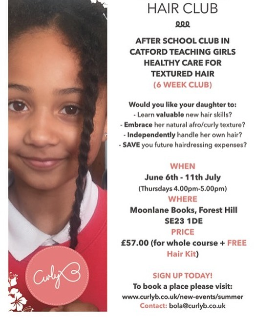 Finally I can post! (Issues with instagram) But this might be too late:( anyway here are the details of the next hair club starting next week! If your daughter can make it!! #naturalhair #curlyblossomproject #hairregimen #twists #braidstyles #catford #lewisham #foresthill