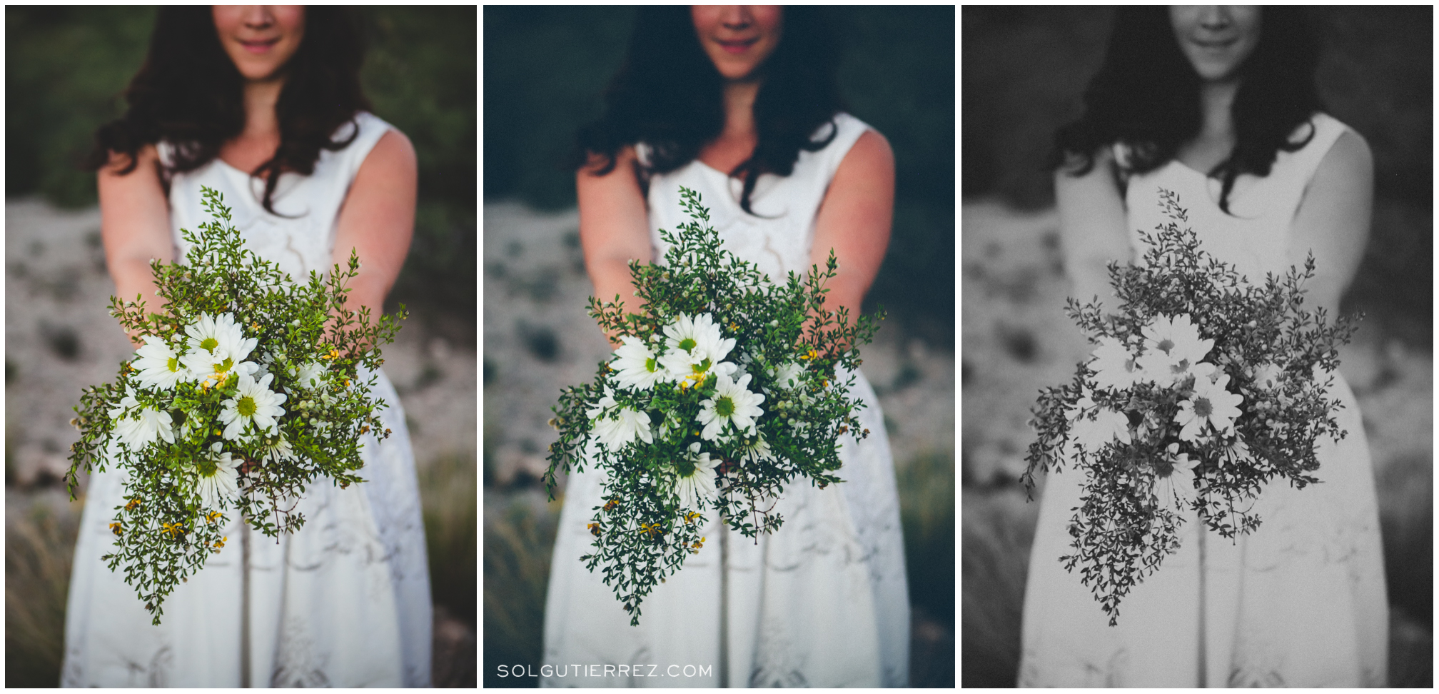 Laura shows off her Tucson desert bouquet // editing sample: original, creative color, and creative black & white (click to enlarge)