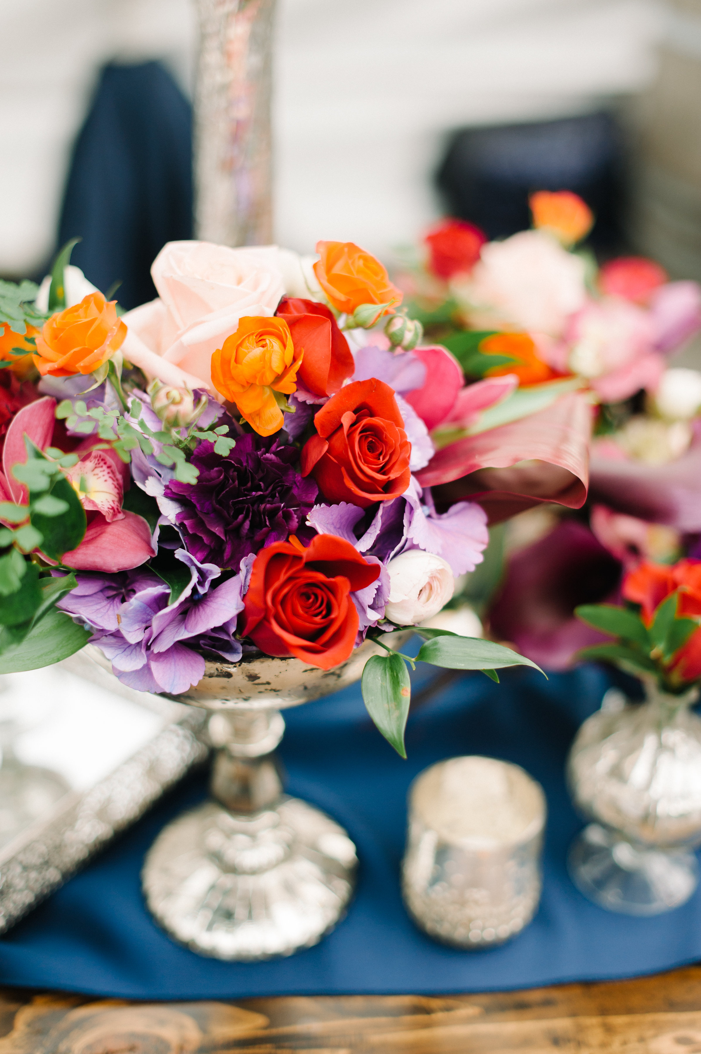 Jewel Tone Wedding Flower Arrangement