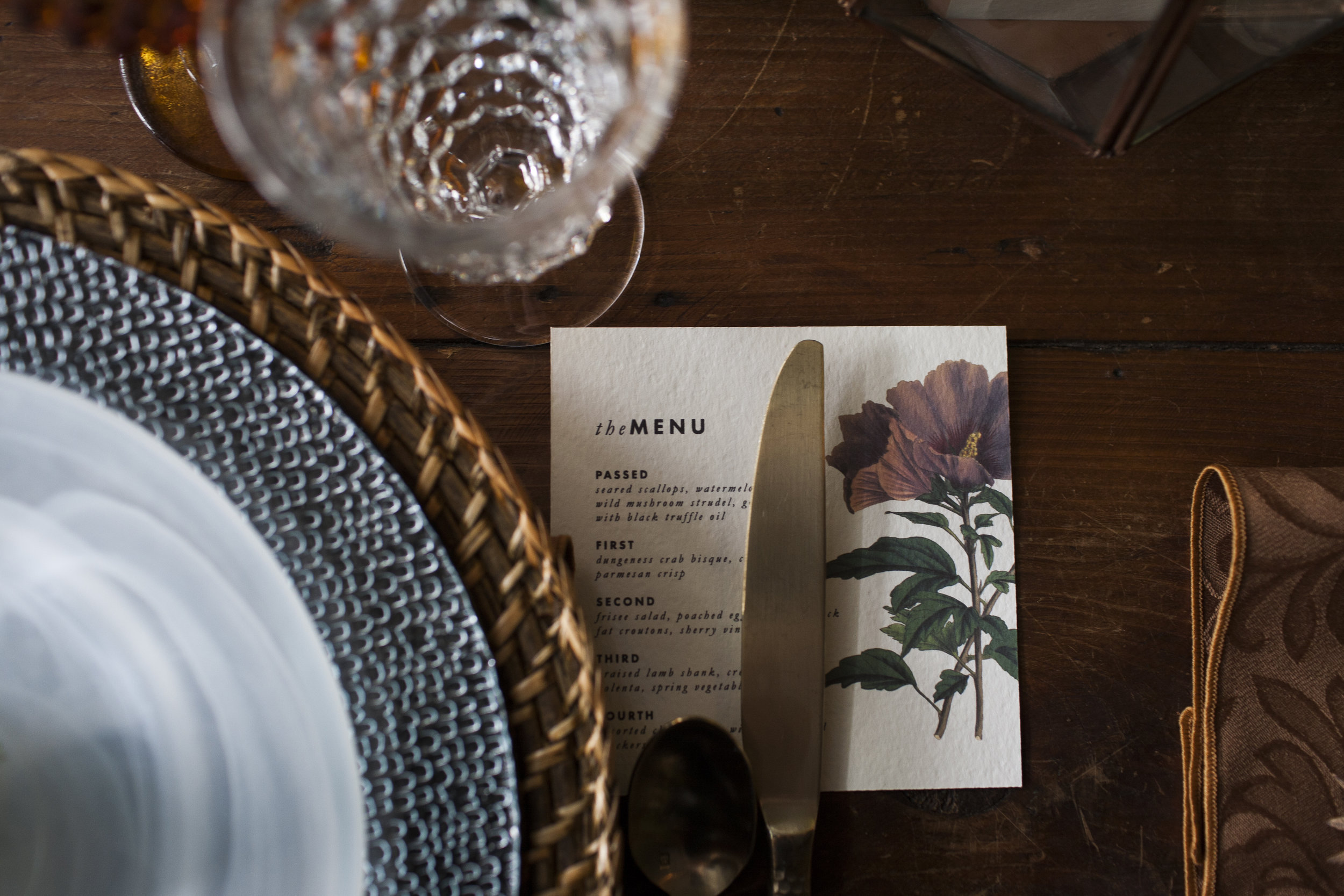 Wedding Table Setting + Menu | Old World Botanical Theme