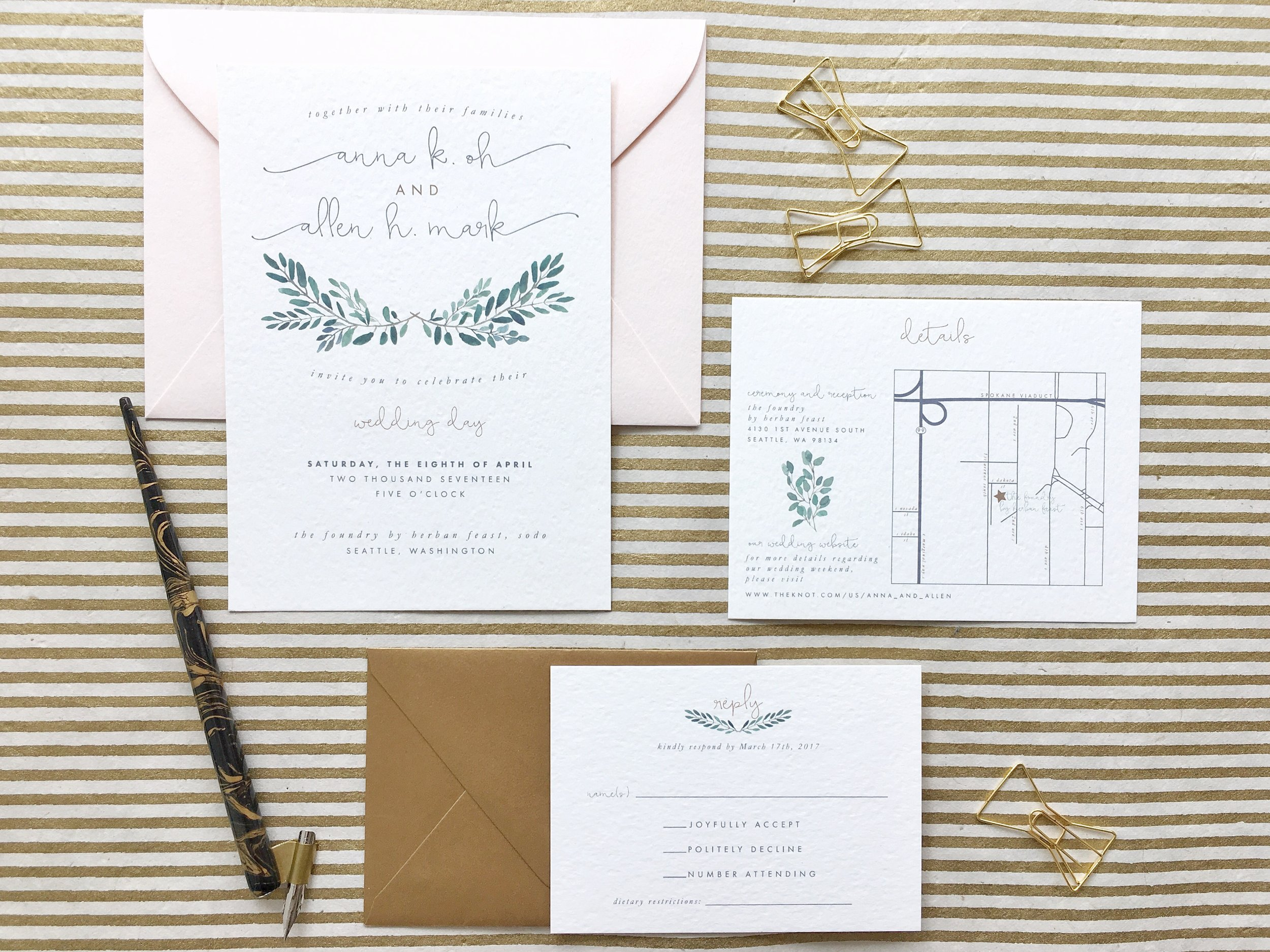 Pantone Themed Wedding Invitation Suite | Songbird Paperie