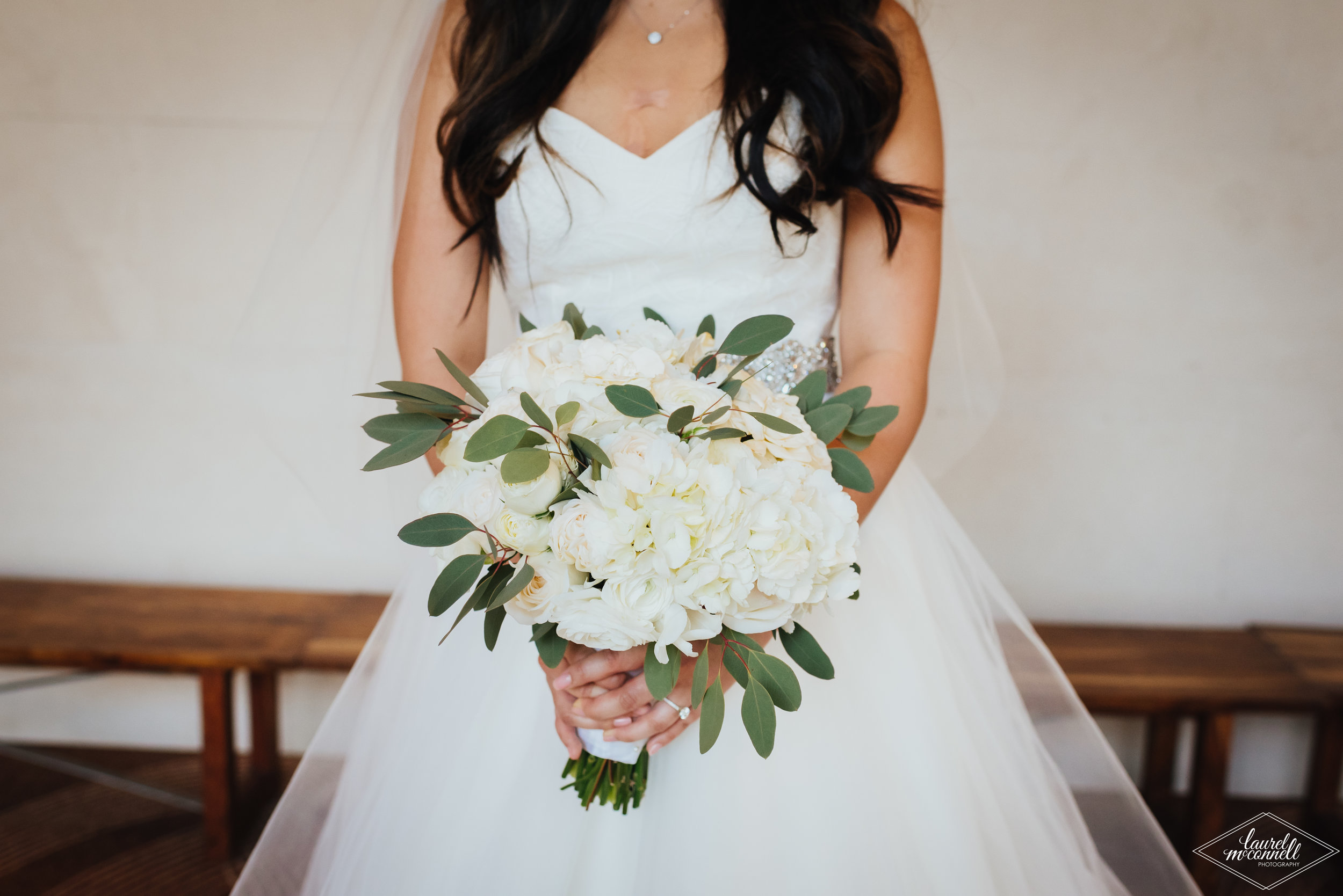 White and Pantone Wedding Bridal Bouquet