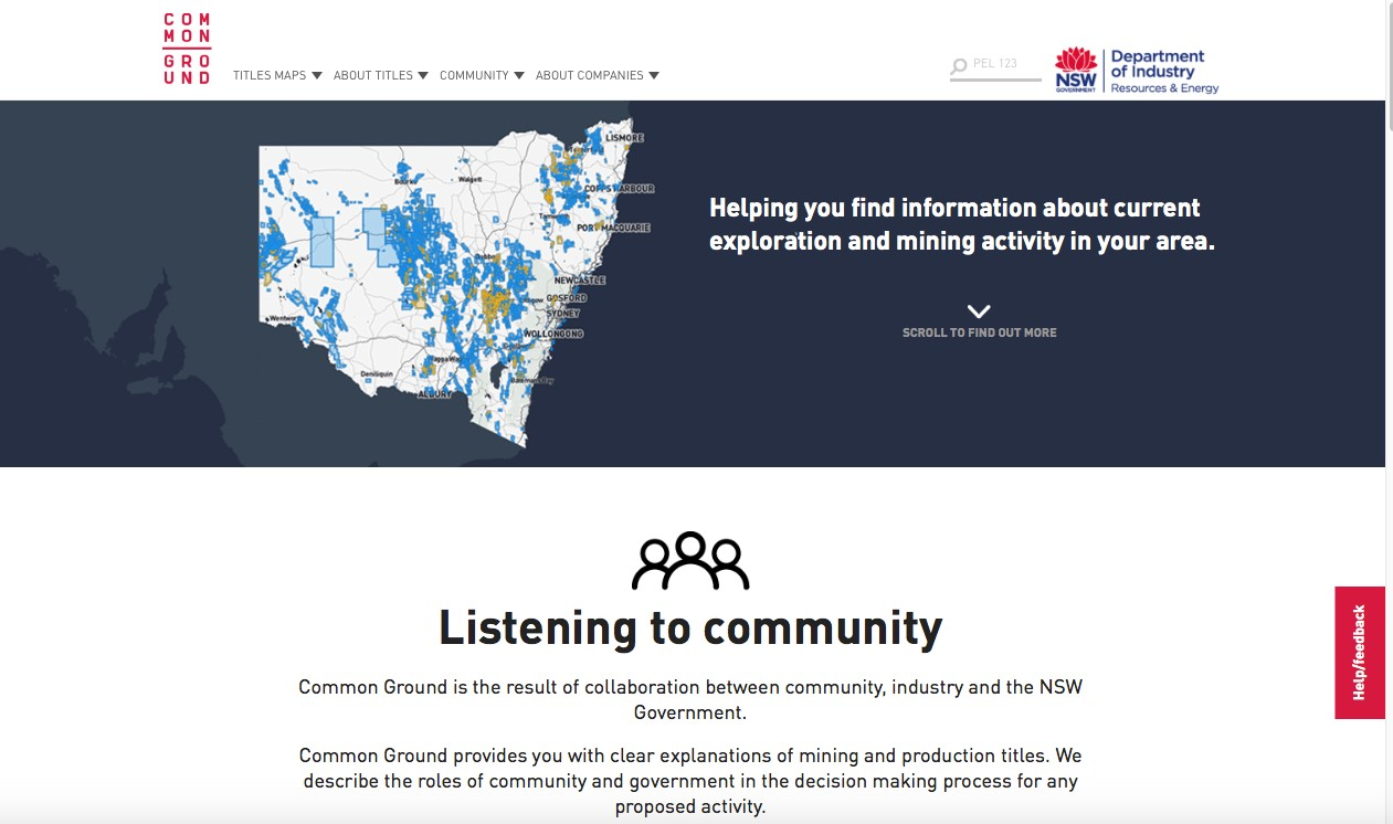 Common Ground web app home page