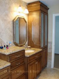 Spa-style bathroom design with a multilevel bathroom countertop.