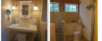 Bathroom design in New Hope, PA combining older elements of the home with a new bathroom design.