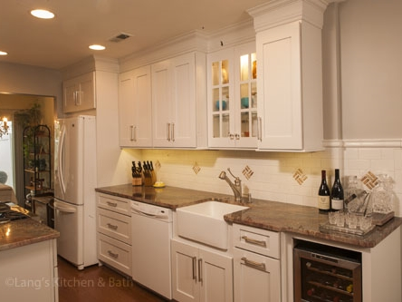 traditional kitchen design in Yardley, PA with built-in wine cooler.