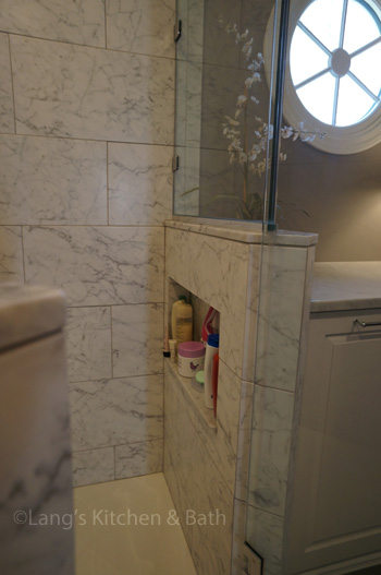 Bathroom design in Yardley, PA with built-in storage niche in shower