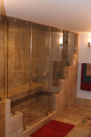 Bathroom design featuring a spa-worthy steam shower.