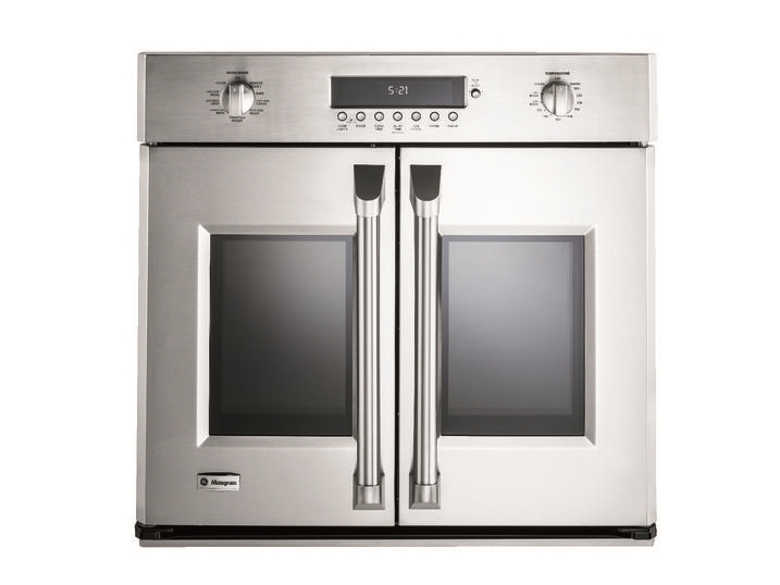 French door style wall oven.