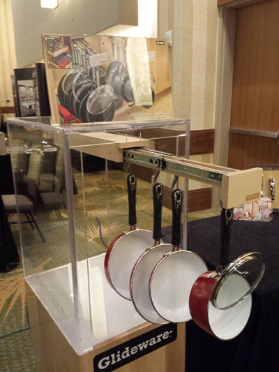 Glideware storage system for pots and pans displayed at SEN 2015 Conference.