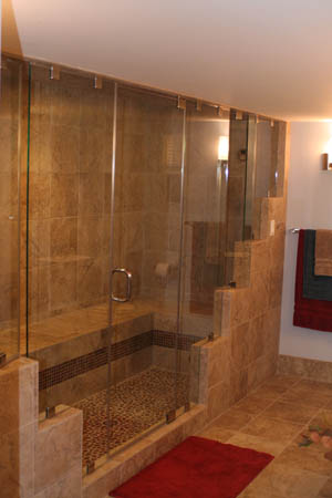 Spa style bathroom design with an enclosed steam shower.