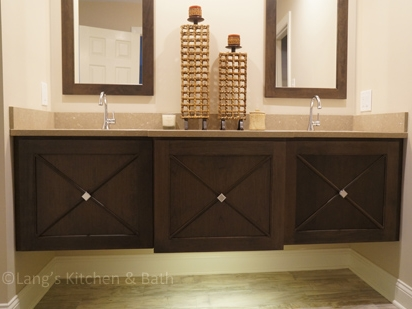 Contemporary hall bathroom design with a floating vanity