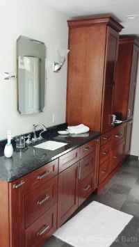 Large vanity with tower cabinets.