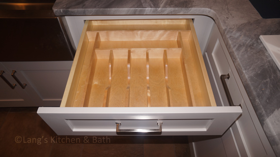 Cutlery drawer insert for kitchen design.