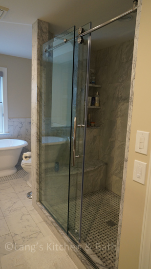 Master bath design with a large shower.