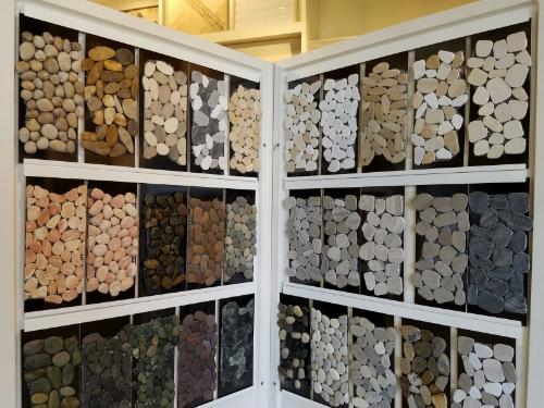 Pebble tiles for a shower floor.