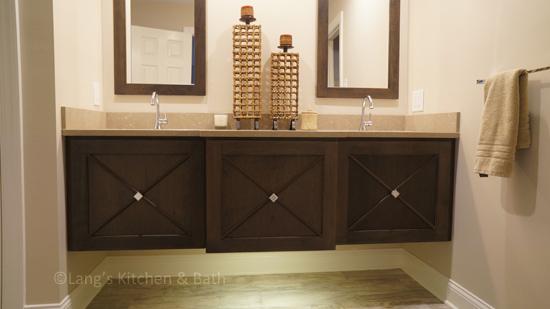Guest bathroom design with floating vanity.