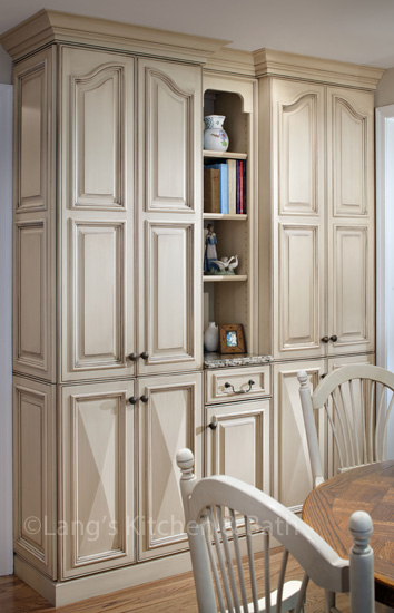 Kitchen design with hutch including open shelving