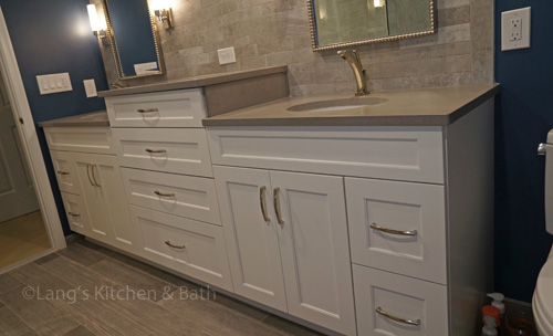 Bathroom design with a multi level vanity.