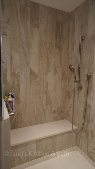 Bathroom design with built in shower seat