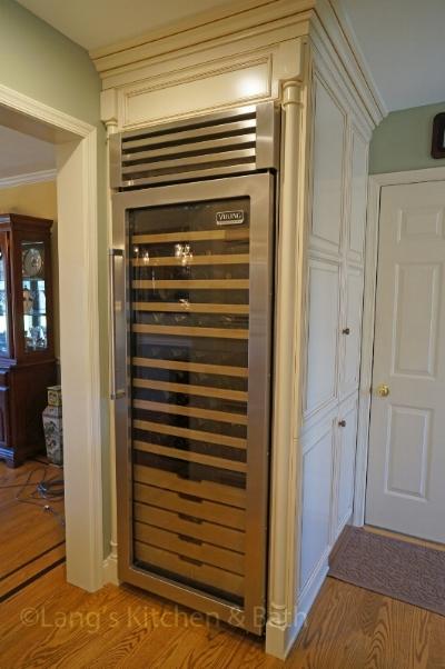 Kitchen design with large wine refrigerator