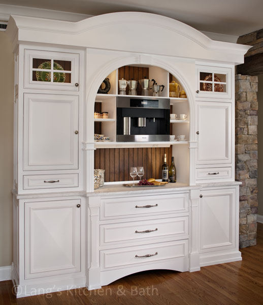 Hutch style beverage bar with built in coffee maker