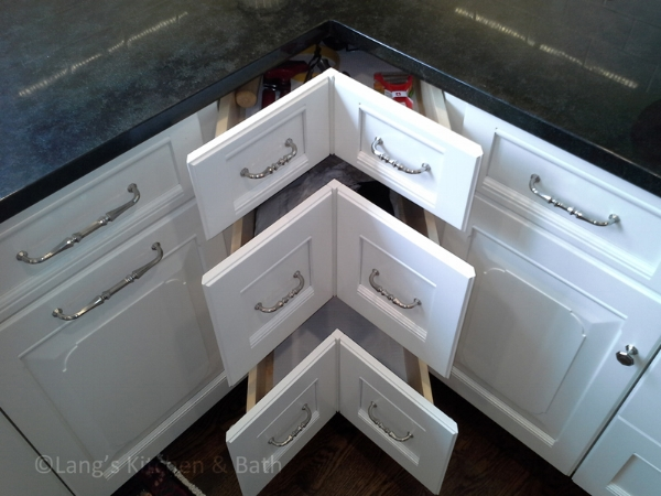 Kitchen design with angled corner kitchen cabinets