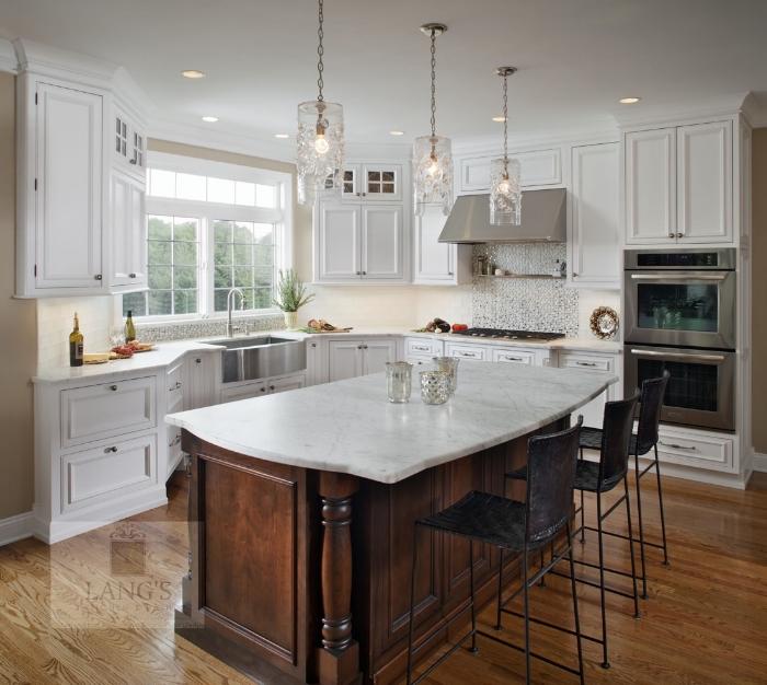 Kitchen design with open shelf above range