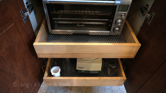 Pull out drawers for appliance storage