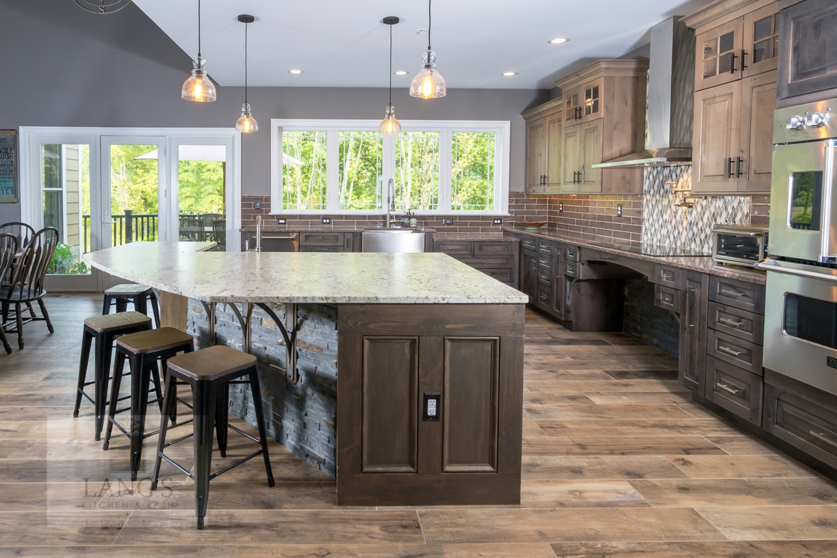 Accessible kitchen design with bi-level island