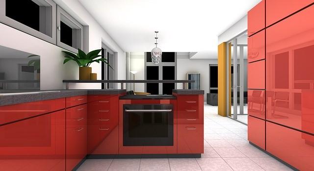 Red modern kitchen design
