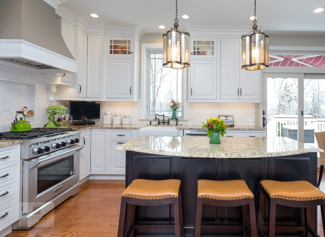 Kitchen design with island and barstools