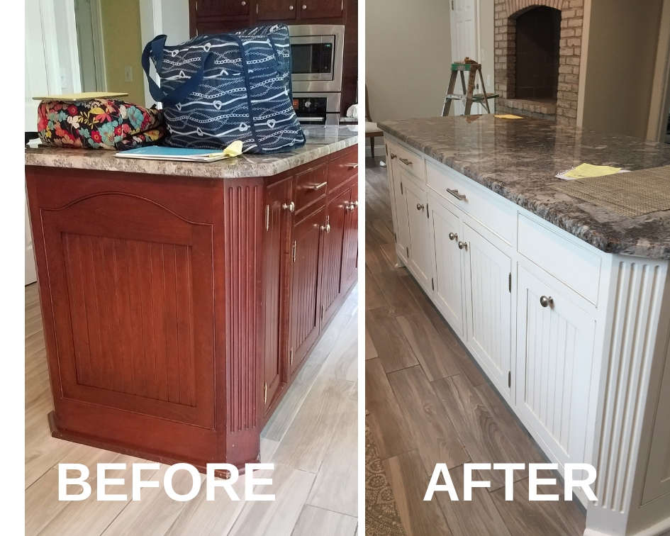 painted island cabinets before and after